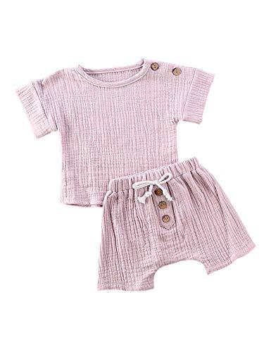 Neugeboren Baby Mädchen Jungen Kleidung Set Kurzarm T-Shirt + Short Bekleidung Einfarbig Sommerkleidung 2PcsOutfit Set (Lila, 12-18 Monate)