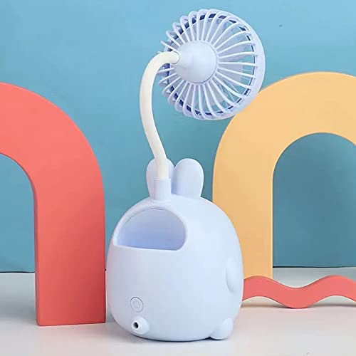 DGDD Mini Ventilador de Escritorio Carga USB Oficina Estudiante Dormitorio Escritorio Oficina Verano,Azul