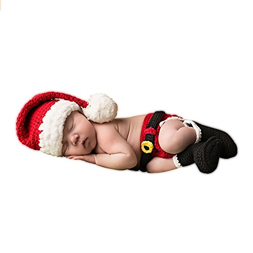 SUNBABY Newborn Baby Christmas Santa Knitted Crochet Photo Photography Prop Lovely Hats Costume Outfits (Boy Pants Suit), Medium Size
