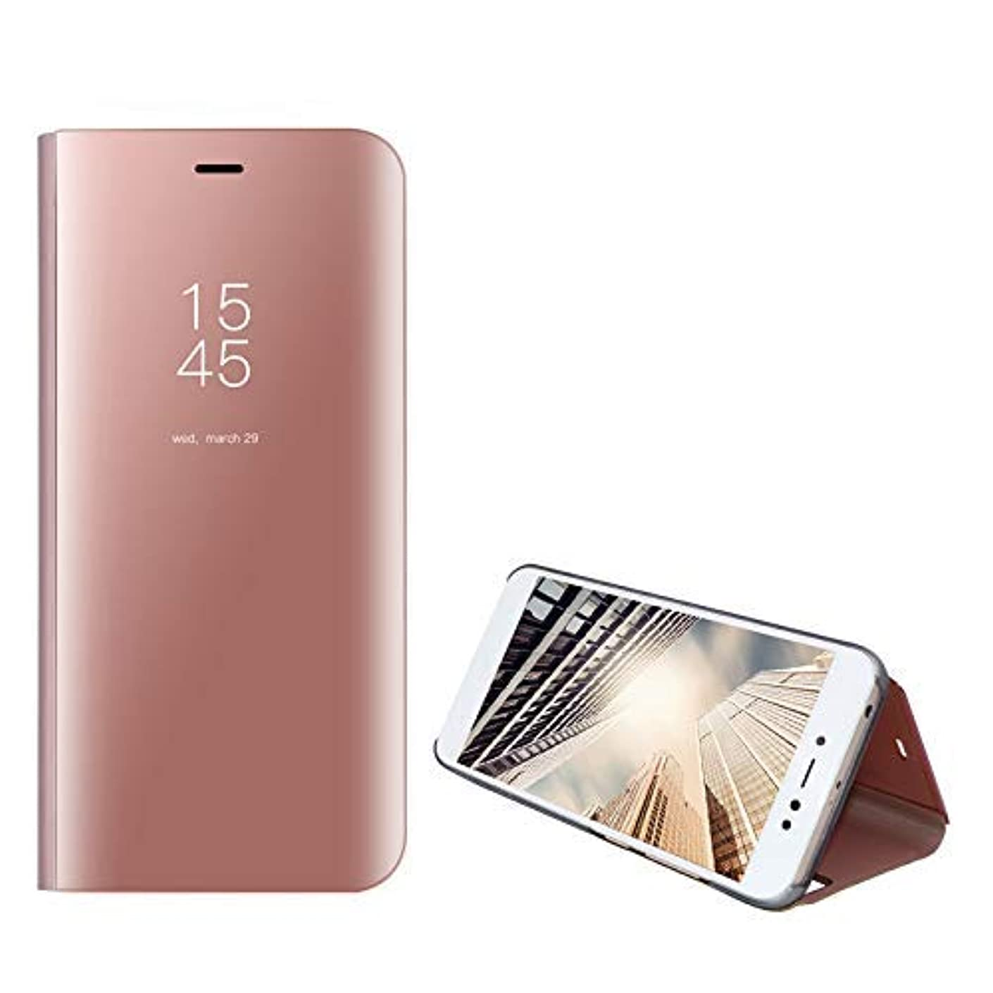 Amocase Smart Clear View Case with 2 in 1 Stylus for Samsung Galaxy S10,Ultra Slim Electroplate Plating Stand Mirror Full Body Shockproof PC + Magnetic PU Leather Flip Case - Rose Gold