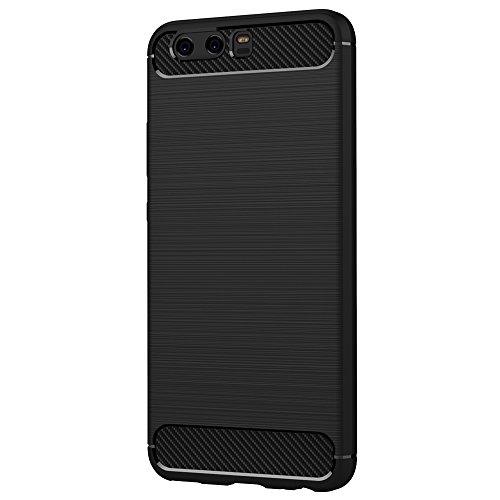 AICEK Huawei P10 Hülle, Schwarz Silikon Handyhülle für Huawei P10 Schutzhülle Karbon Optik Soft Case - 2