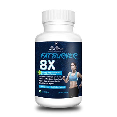 Naturstrong 100% Natural Fat Burner 8X Supplements Garcinia Combogia, Green Tea, Apple Cider Vinegar Weight Loss Products for Women & Men - 60 Tablets
