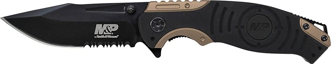 Smith & Wesson M&P SWMP13BS 8.2in High Carbon S.S. Folding Knife with 3.5in Serrated Clip Point Blade and Aluminum Handle ...