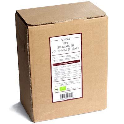 3 Liter BIO Schwarzer Johannisbeersaft - 100% Direktsaft aus schwarzen BIO Johannisbeeren, ohne Zusätze - Schwarze Johannisbeere BIO Muttersaft in praktischer Saftbox