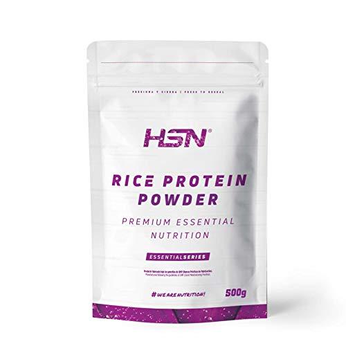Proteína de Arroz de HSN   Proteína Vegana Concentrada de Arroz Integral   Rice Protein Powder   Recuperación + Masa Muscular   Sin Azúcar, Sin Lactosa, Sabor Natural, 500 gr