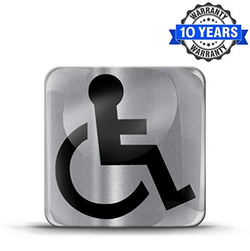 Biomar Labs® 1 x Aufkleber 3D Gel Silikon Behindert Disabled Symbol Logo Rollstuhl Rollstuhlfahrer Schild Silber Sticker Autoaufkleber Auto Motorrad Fahrrad Fenster Tür KS 182