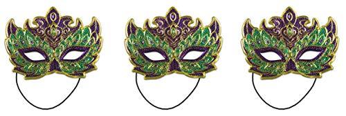 Beistle 3Piece Mardi Gras Costume Masks (Green/Gold/Purple)