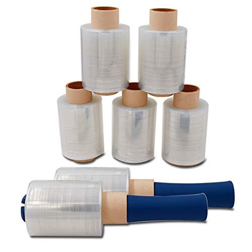 Verpacking Mini-Stretchfolie 23my stark 100mm x 150m 6 Rollen + 2 Abroller reißfest, dehnbar & zuverlässig