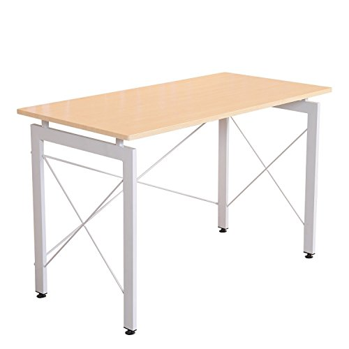 HOMCOM 48' Sturdy Simple Late Modern Home Office Desk Workstation with Anti-Slip Feet - Natural/Maple
