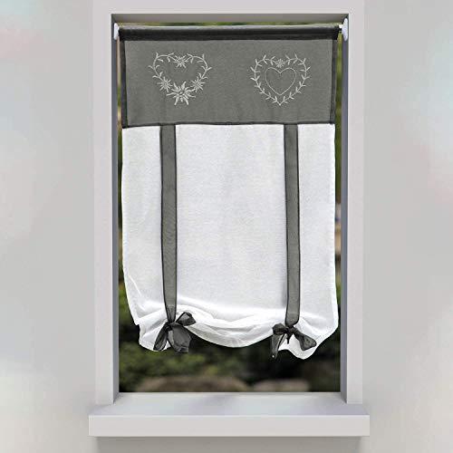 SIMPVALE 1 Pezzo Tie up - Tenda in Voile Tulle Ricamo Romano Tenda - Tende Pannelli Finestra per Camera da Letto, Studio, Bagno, Cucina, Grigio, 45x90cm
