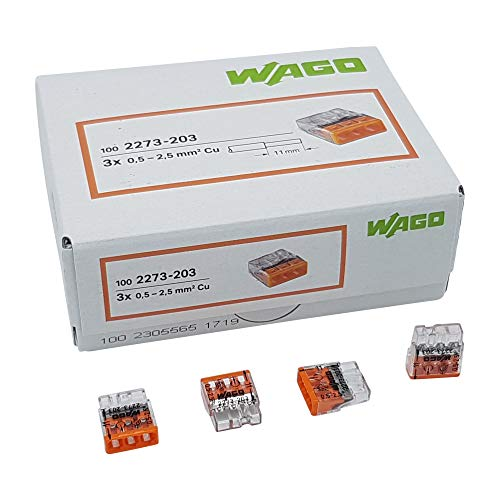 50 Stück Wago 2273-203 COMPACT-Verbindungsdosenklemme Ø 0,5-2,5 mm², 3-polig, transparent/orange
