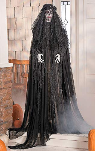 Black Veiled Bride Halloween Decoration With Red Flashing Eyes