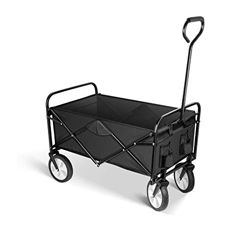 YSSOA Rolling Folding & Rolling Collapsible Garden Cart, Outdoor Camping Wagon Utility with 360 Degree Swivel Wheels & Adjustable Handle, Black 220lbs Weight Capacity
