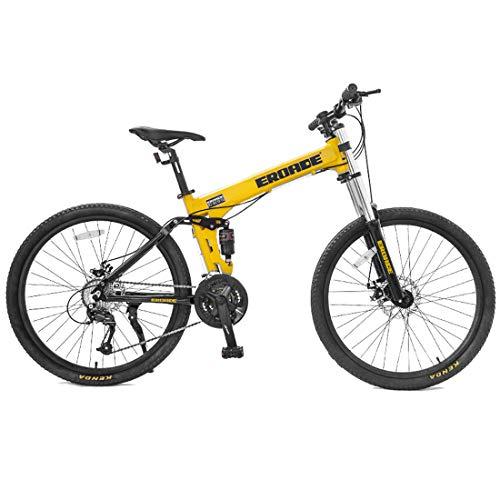 WYZQ - Bicicleta de montaña unisex de 26 pulgadas, velocidad variable, doble amortiguación, marco de aluminio, horquilla delantera con cerradura, Off-Road Racing, color amarillo