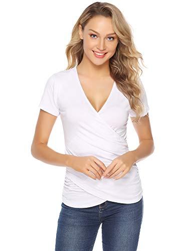 Abollria Maglietta Scollata Donna Sexy Estiva, T Shirt Casual con Maniche Corte e Scollo a V Top Maglia Bluse Elegante, Comoda e Basic, Bianco, S