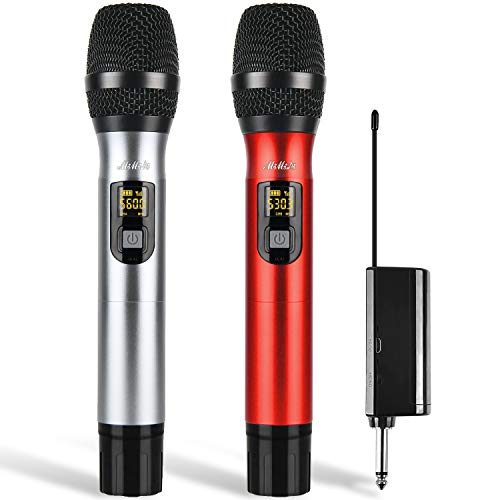 Wireless Microphones - Dual Handheld UHF Portable Dynamic Mic System with Rechargeable Receiver, MIMIDI Karaoke Microphone for Singing Machine,PA,Speaker,Party,Church,Meeting Use,260ft (MIC520)