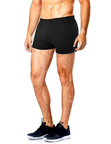"""Muscle Alive Men's Running Shorts with Pockets 3"""" Inseam Cotton Lounge Short Bottoms Black Color Size M"""