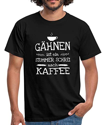 Kaffeetasse Gähnen Stummer Schrei Kaffee Männer T-Shirt, 4XL, Schwarz