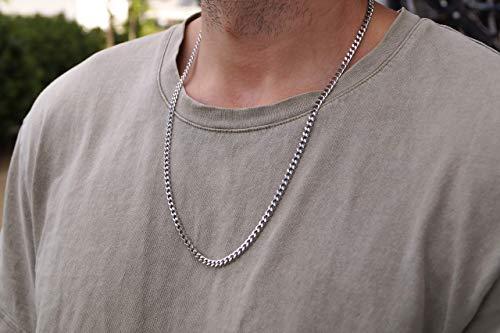 Made by Nami Herren Halskette aus Edelstahl - Massive 60 cm Silber-Kette Glieder-Halskette Glieder-Kette - Handmade Herren-Kette Panzer-Kette - Geschenk für Ihn - Herren-Schmuck Männer (Silber 4mm)