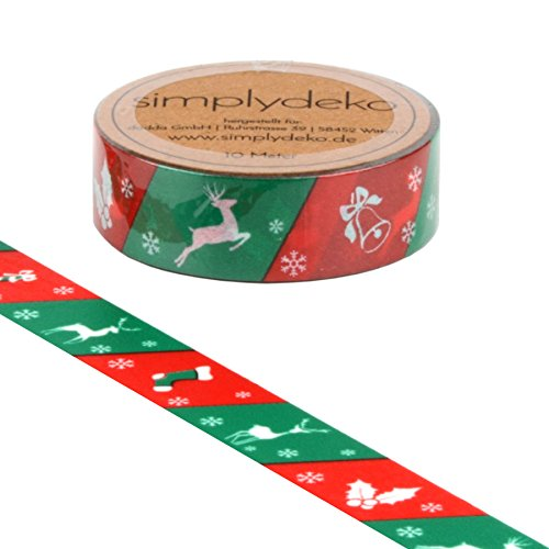 Simplydeko Washi Tape - Masking Tape zu Weihnachten - Wundervolles Washitape Bastel-Klebeband aus Reispapier - Weihnachten in Mint Rot