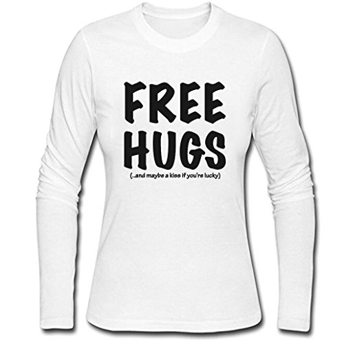Women's Free Hugs Lucky and kiss Funny Long Sleeve Shirt (White,XL)
