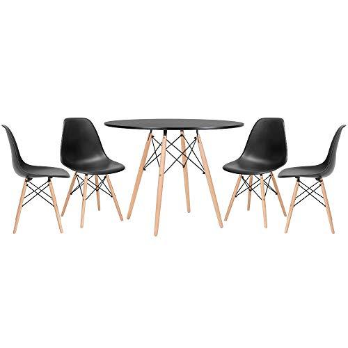 Kit - Mesa Eames 100 cm preto + 4 cadeiras Eames Eiffel Dsw preto