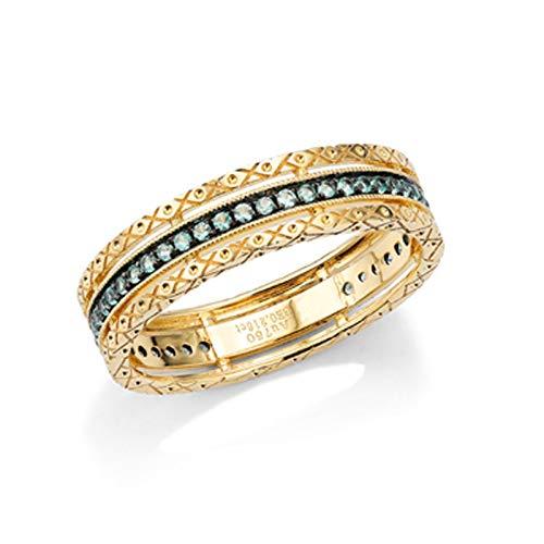 KnSam 18 K Gold Goldring Damen Verlobung Verlobungsring Frauen Böhmischer Hohlring Grün Smaragd 0.18Ct Für Damen Mädchen Hochzeit Ehe Verlobungsring Valentinstag Jubiläum Geschenk