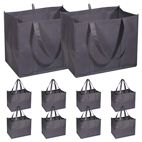 10 Pack Reusable Grocery Bags Extra Large Super Strong Heavy Duty Shopping Tote Bags with Reinforced Handles, Grey