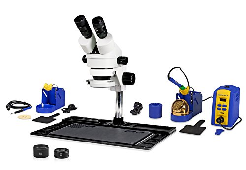 Parco Scientific PA-10EZ-IFR07-SD1 Binocular Stereo Zoom 7x-45x Microscope, Hakko Single Port Solder Station FX-951 and Micro-Soldering Kit Fm-2032, 144-LED Light, Cell Phone Repair Platform