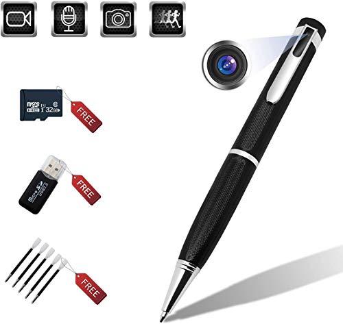 Mini Stifte Kamera with 32GB Micro SD,HD 1080p Tragbare Kleine Überwachungskamera für Home Office Überwachung Nanny Cam Unterstützung Bewegungserkennung mit 5 Tinte Fills Inc