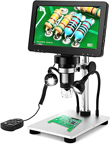 7'' LCD Digital Microscope 1200X, Elikliv 1080P USB Coin Microscope with 12MP Camera Sensor, Wired Remote, 10 LED Lights, PC-Microscope View for Adult Kids, Compatible with Windows/Mac OS