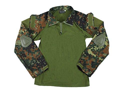 BEGADI Basics Combat Shirt, mit elastischem Torso, 2 Armtaschen & Protektoren - Flecktarn XL
