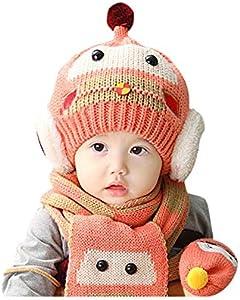 ZHONGXIN Conjunto de bufandas de sombreros de invierno para bebé, Conjunto de bufanda de gorro de punto, Conjunto de gorro de ganchillo de invierno cálido, durante 1-4 años (A)