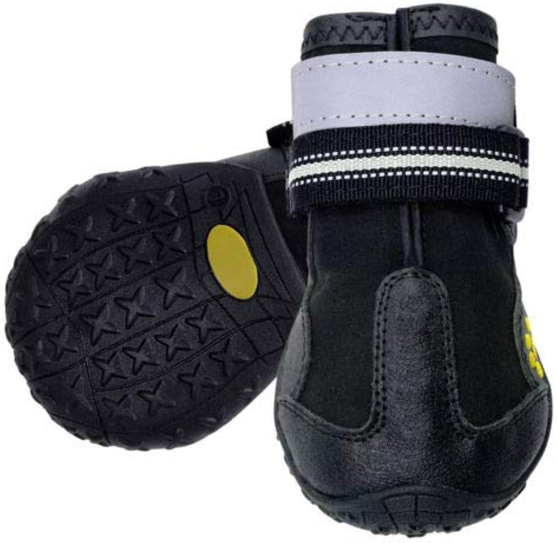 FidgetGear 4pcs Reflective Large Dog shoes Waterproof Boots Booties for redtweiler Bulldog Black 6