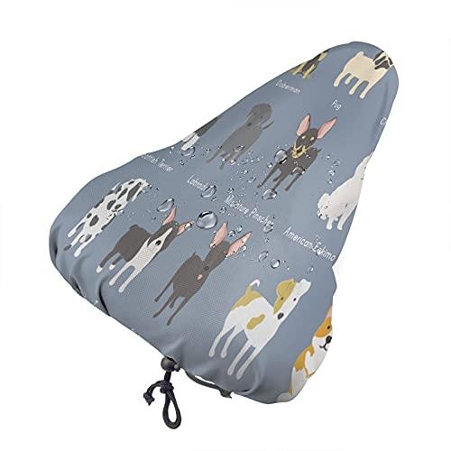 Bong6o Dogs Collection - Funda para asiento de bicicleta unisex extra suave, duradera, impermeable, gel antipolvo