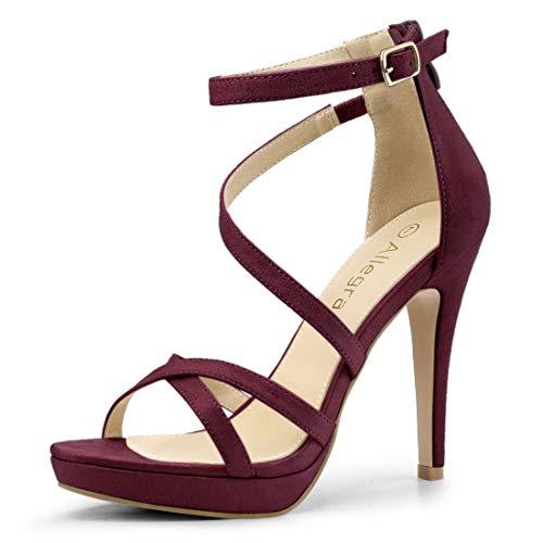 Allegra K Women's Strappy Platform Stiletto Heels Burgundy Sandals - 10 M US