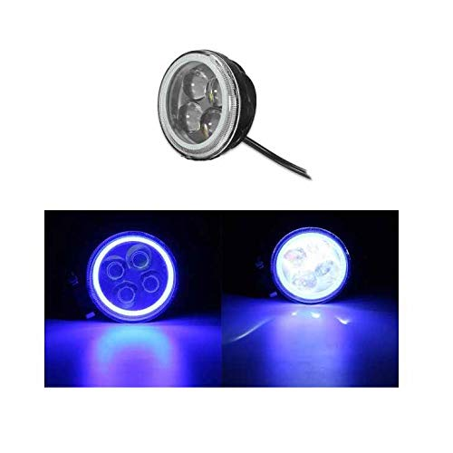 MOMOALA 9V-12 V 12V Rond LED Hi/Lo Faisceau De Travail avec Lumière RGB Angel Halo Spot Phare-Bleu