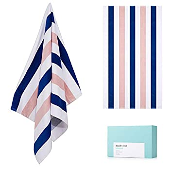 """Large Luxury Beach Towel 100% Cotton Pool Towel with Cabana Stripe Swim Towel for Sunbathing Poolside Lounge Bath or Yoga Soft Absorbent Skin Friendly with No Shrinkage  30""""60"""" 1 Pack"""