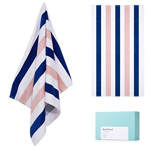 "100% Cotton Beach Towel, Large Plush Pool Towel with Double-Color Stripe (30""60"") 1 Pack Soft Swim Towel Set for Adults Sunbathing Poolside Lounge Bath"