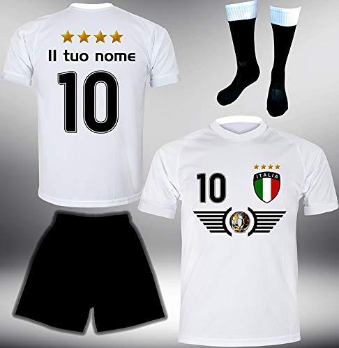 DE-Fanshop Italien Trikot Set 2018 mit Hose & Stutzen GRATIS Wunschname + Nummer im EM WM Weiss Typ #IT6ths - Geschenke für Kinder Erw. Jungen Baby Fußball T-Shirt Bedrucken Italia