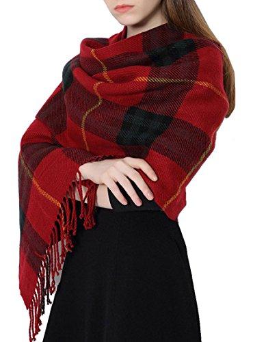 Tuopuda® Mujeres Caliente Mantas Cozy Pashmina Bufanda larga Tartán Enrejado Mantón Con Borlas y Bolsillo (rojo)