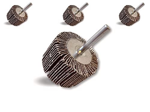 Lot de 3 roues abrasives de polissage satinage sur tige | Lamelles toile tissu abrasif au corindon | Ø 50 mm | Ep. 30 mm | Grain 60 | Cylindre ponçage meulage ébavurage finition | Kibros 1BL16x3