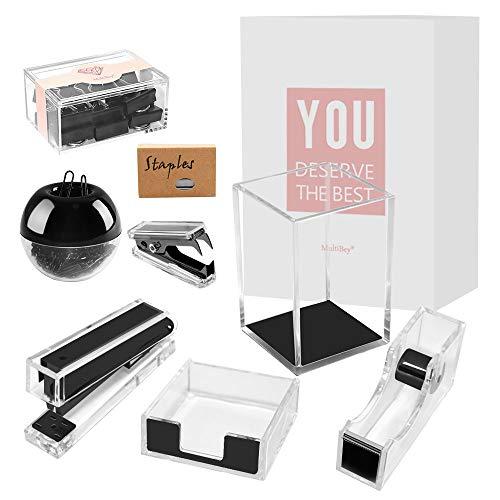 Acrylic Desk Set Clear Black Desk Organizer Set Stapler Tape Dispenser Memo Sticky Notes Pad Holder Magnetic Paper Clips Holder Pen Pencil Cup Mini Stapler Remover Staples Binder Clips(8 Packs)