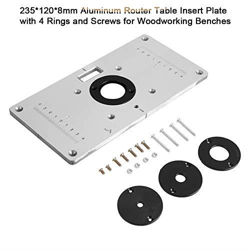 Broco 235 * 120 * 8mm Aluminium Router Tabelle Einlegeplatte mit 4 Ringen und Schrauben for die Holzbearbeitung Bänke