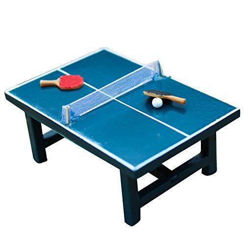 rycnet Juego de tenis de mesa en miniatura de casa de muñecas 1:12, juguete de madera realista