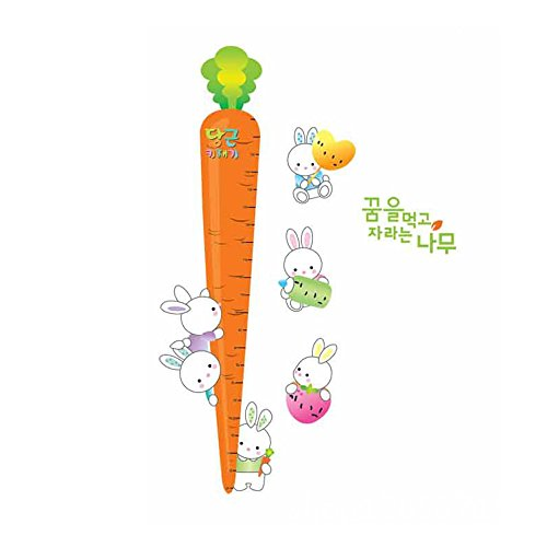 Winhappyhome Radish Rabbit Children's Height Measurement Chart Autocollants pour Kids' Room Pépinière Background Amovible Décor Décalcomanies