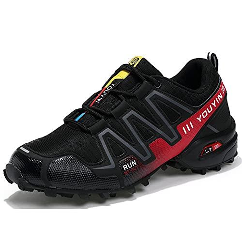 AGYE Calzado de Ciclismo para Hombre,Estilo de Zapatilla de Deporte Bicicleta de Carretera Ciclismo Zapatos Ultraligeros y Transpirables Zapatos de Montar Antideslizantes con Cordones,Black-45
