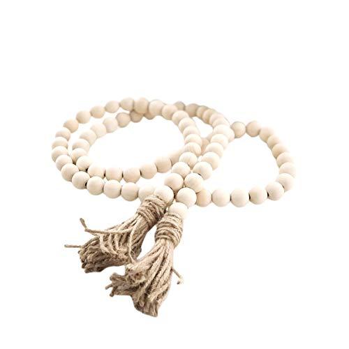 Wakauto Wooden bead garlands, rustic pearl garlands, wooden bead garland with tassels, family wood garland garland for Christmas, main decoration, wooden bead garland with tassels, large 145 cm.