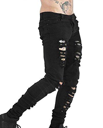 LaoZan Superenge Jeans mit Rissen am Knie in Verwaschenem Hose Neu Clubwear Streetwear