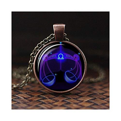 12 Constellation Design Zodiac Sign Horoscope Astrology Pendant Necklace For Women Men Glass Cabochon (Metal Color : Libra 1)